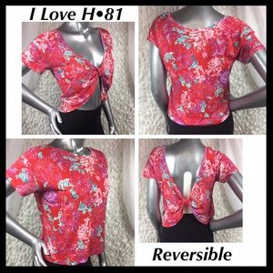 8fcb721a5c4 I Love H•81 | Reversible Front/Back Red Floral Top